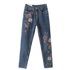 Large size Women pants Fashion leisure embroidered female jeans trousers Frayed washed jeans