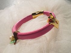 Genuine Leather Bracelet made of fuchsia thick by twolittlefairies