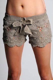 crochet shorts pattern - cannot croche but maybe could find a similar tablecloth and sew a pair of shorts....not the same but may look similar