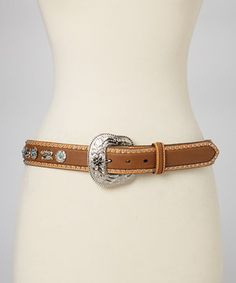 Another great find on #zulily! Brown & Turquoise Flower Scroll Leather Belt by Nocona Belt Co. #zulilyfinds