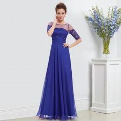bc2ef330b979 -Safírově modré společenské šaty s krajkou a rukávy