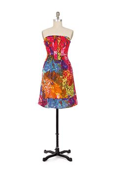 """Buttoned Watercolor Dress #anthropologie Splashed from strapless neckline to hem, this abstract floral frock is trimmed with stem-like piping at the placket. By Moulinette Soeurs. •Side pockets  •Side zip  •Cotton; cotton lining  •Machine wash  •30.5""""L  •Imported  •Style No. 930054"""
