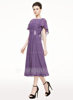 A-Line/Princess Scoop Neck Tea-Length Ruffle Beading Sequins Zipper Up Sleeves Short Sleeves No 2015 Other Colors Spring Summer Fall General Plus Chiffon Mother of the Bride Dress