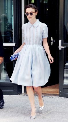 Who: Kiera Knightley. The Dress: Miu Miu. Why We Love It: We'll never grow tired of a pretty pastel blue dress. The Summer Dresses Our Favorite Celebs Are Wearing via @WhoWhatWear