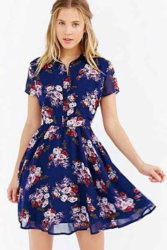 Lucca Couture Floral Shirt Dress, blue $59 - Urban Outfitters