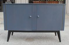 Refined Custom Finished Grey Blue Cabinet | From a unique collection of antique and modern sideboards at https://www.1stdibs.com/furniture/storage-case-pieces/sideboards/