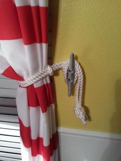 Boat cleat curtain tie back. Perfect for my son's nautical bedroom