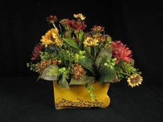 french country fall floral arrangments   Red and Gold Tuscan Floral Arrangement Silk Flower Wheel Barrow Motif ...
