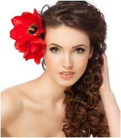 Curly Formal Hairstyle with Flower