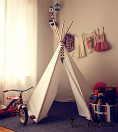 A tent in my bedroom and a Teepee in the living room. DIY Teepee, water proof it for outdoors. Diy Teepee, Teepee Tent, Child Teepee, Toddler Teepee, Tutorial Tipi, Diy Zelt, Boy Room, Kids Room, Room Baby