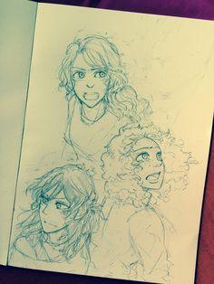 Annabeth, Hazel and Piper - Art by mormoc