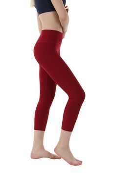 OUTOF Women's Power Yoga Pants – Mid Waist Capri WMC8417 Burgundy Medium ** You can get additional details at the image link. (This is an affiliate link) #yogaleggings