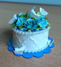 """""""Blue Garden"""" Tea Light Cake (made by Kim) Tea Light Lanterns, Led Tea Lights, Tea Light Candles, Tea Cakes, Mini Cakes, Light Cakes, Candle Craft, Candy Cakes, Paper Cake"""