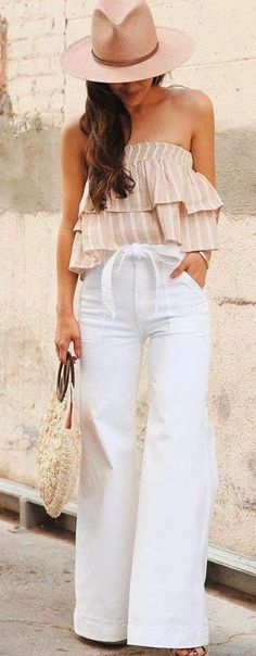 24 Ideas De Pantalones De Lino Blanco Moda Para Mujer Pantalones De Lino Blanco Moda Estilo