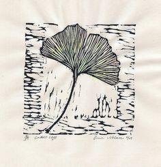 Ginko leaf block print