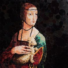 """ Lady with ferret "" collage"