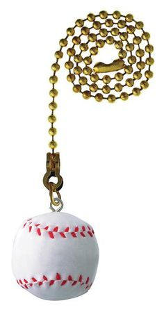This baseball pull chain is perfect for any sports lover's home. The white, round handle is complete with the red stitch pattern of a classic hardball, and hangs on a 12-inch beaded chain. This pull c