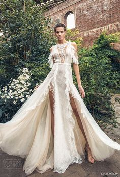 solo merav 2018 bridal cold shoulder half sleeves bateau neck full embellishment double slit skirt glamorous a  line wedding dress keyhole back short train (14) mv -- Solo Merav 2018 Wedding Dresses