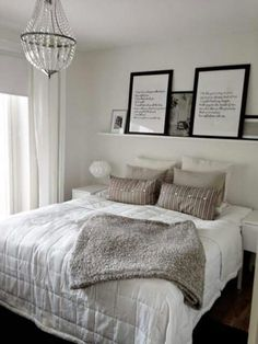 J · Picture Frames On ShelvesPicture Ledge BedroomPicture HeadboardBed ...