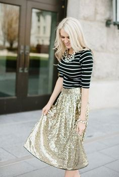 Shimmer Gold Sequin Skirt
