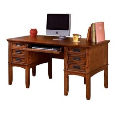 Brown Cross Island Home Office Desk by Ashley Furniture Home Office Storage, Home Office Desks, Home Office Furniture, Furniture Decor, Oak Computer Desk, Mission Style Furniture, Wooden Desk, At Home Store, Planer