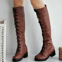 Lace Up Punk Tall Knee High Riding Boots Brown (i'm starting to luv the lace up boots!)  $56.99