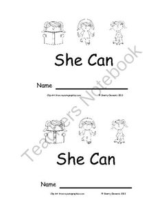 Emergent Reader: She Can: Sight Words (she, can) from Dr. Clements' Kindergarten on TeachersNotebook.com -  (7 pages)