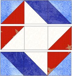 Ribbon Star Quilt Block It seem like you could make the outer parts with strips - 2 white blue blue and 2 white red blue Flag Quilt, Patriotic Quilts, Star Quilt Blocks, Star Quilt Patterns, Star Quilts, Easy Quilts, Pattern Blocks, Block Quilt, Blue Quilts