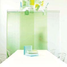 Sliding Door Panels Made Of Translucent Resin.