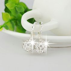 Prata banhado circular brincos modelos femininos Shamballa bijuterias adorável super flash selvagem retro jóia de cristal
