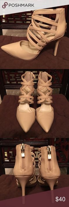 "BCBGeneration strappy neutral pumps Size 6    Neutral patent 4"" heel with zip up back by BCBGeneration.  Worn once/excellent condition.  ❌sorry no trades BCBGeneration Shoes Heels"