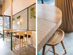 Inspired by the client's core product, Figureground Architecture celebrate the unique process of making waffles in this Waffle Cafe in Melbourne's Fitzroy.