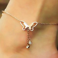 Rose Gold Titanium Steel Butterfly Anklet Tassel Pendant Foot Bracelet Feet Jewelry