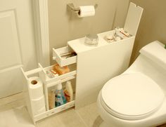 "Bathroom Cabinet for Narrow Spaces ships fully assembled. This surprisingly spacious but compact bathroom cabinet is only 6.25"" wide."