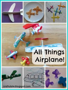 """We've just finished """"airplane week"""" and we've had such fun! F is always pointing out airplanes - often he can see AND hear them before anyone else. So this theme was perfect for him.     Crafts Making our own airplane was essential for this week - so in the end we made three types!  The first was using coloured craft sticks. We glued two together to make a fuselage (although more would be even better). Then we glued two more sticks together to make wings.        Then I broke the end"""