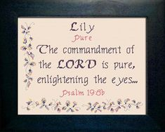 Lily - Name Blessings Personalized Cross Stitch Design from Joyful Expressions
