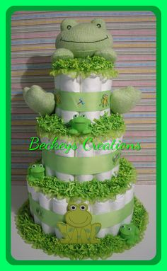 Excited to share this item from my shop: Frog Diaper Cake 3 Tier - Diaper Cake - Boy Diaper Cake - Girl Diaper Cake - Baby Gift - Baby Shower Angel Baby Shower, Baby Shower Gift Basket, Baby Shower Gifts For Boys, Baby Shower Diapers, Baby Shower Cakes, Baby Boy Shower, Baby Gifts, Camo Diaper Cake, Mini Diaper Cakes