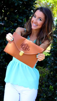 Monogrammed Luxe Cross Body Clutch from Marleylilly.com