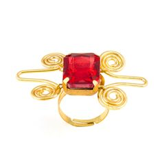 Red crystal stone ring
