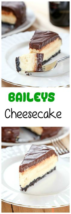 Bailey's Cheesecake Recipe: Silky smooth Baileys cheesecake topped with a rich chocolate ganache. Your favorite liquor in cheesecake form=heaven on a plate!