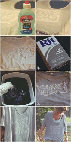 Trace a design on a plain tee-shirt with water-soluble glue such as Elmer's. Follow instructions on your choice of hot water dye.  Once finished and the dye has set, then soak in warm water until glue dissolves and design will look beautiful!