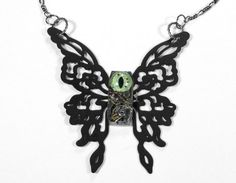 Steampunk Statement Necklace Black BUTTERFLY Jeweled by edmdesigns, $95.00