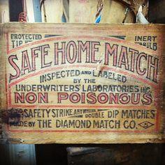 Safe Home Match. They are non-poisonous! #vintagelogo #vintagelabel #vintageletters #vintagepackaging #vintagetypography #packaging #type #typography #typecollector