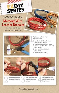 How to make a memory wire leather bracelet Memory Wire Jewelry, Memory Wire Bracelets, I Love Jewelry, Jewelry Making, Wrap Bracelets, Hippie Jewelry, Hippie Bracelets, Pandora Bracelets, Jewelry Rings