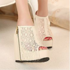 Wedges Shoes | Graceful Zipper Ivory Lace Open Peep Toe Wedge Super High Heel Wedges - Hugshoes.com
