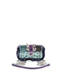 Baguette+Micro+Wave+Crossbody+Bag,+Green/Teal/Blue/Purple+by+Fendi+at+Neiman+Marcus.