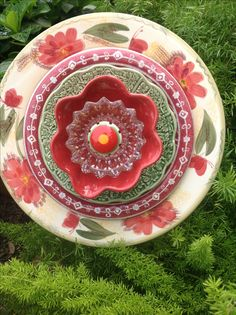 Bright reds, oranges, greens and golds. Will really POP in the garden!  MiMi's Plate Flowers
