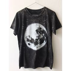 Full moon space stone washed punk rock goth T-Shirt M ❤ liked on Polyvore featuring tops, t-shirts, gothic tops, cotton t shirt, flat top, cotton tee and punk rock t shirts