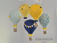 Navy Yellow Gray Aqua White Hot Air Balloon Mobile Travel Theme Nursery Decor Custom Mobile World Map