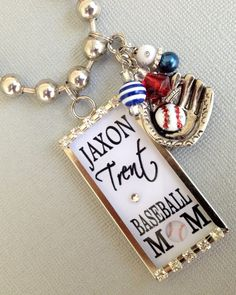 Baseball Mom Personalized Necklace  Team colors by buttonit